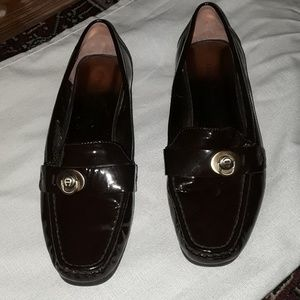 Etienne Aigner Brown Patent Leather Loafers Size 8